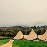 Three Tipis are setup in a field with beautiful irish countryside in the background